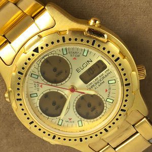 Outta Sight Elgin Gold Tone Chronograph Watch